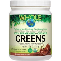Whole Earth & Sea Fermented Organic Greens Chocolate 15.5 Oz by Natural Factors