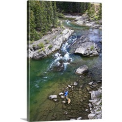 Large Gallery-Wrapped Canvas Wall Art Print 16 x 24 entitled Late season fishing on the Gros Ventre River, Wyoming found on Bargain Bro India from Great Big Canvas - Dynamic for $224.99