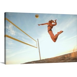 Large Gallery-Wrapped Canvas Wall Art Print 24 x 16 entitled USA, California, Los Angeles, woman playing beach volleyball found on Bargain Bro India from Great Big Canvas - Dynamic for $214.99