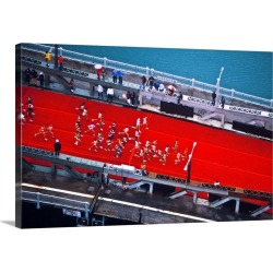 Large Solid-Faced Canvas Print Wall Art Print 30 x 20 entitled Aerial view of people running in Chicago Marathon, Chicago,... found on Bargain Bro Philippines from Great Big Canvas - Dynamic for $174.99