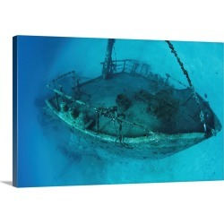 Large Solid-Faced Canvas Print Wall Art Print 30 x 20 entitled The wreck of the Inganess Bay, in Wreck Alley off Cooper Is...