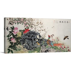 Large Gallery-Wrapped Canvas Wall Art Print 24 x 12 entitled Birds, Peacock and Flowers in Spring