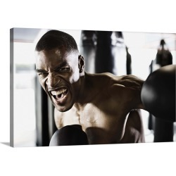 Large Solid-Faced Canvas Print Wall Art Print 30 x 20 entitled Angry man boxing found on Bargain Bro from Great Big Canvas - Dynamic for USD $129.19