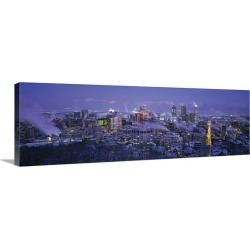 Large Gallery-Wrapped Canvas Wall Art Print 36 x 12 entitled Winter Montreal Quebec Canada
