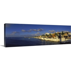 Large Gallery-Wrapped Canvas Wall Art Print 36 x 14 entitled Buildings at the waterfront, Key West, Monroe County, Florida