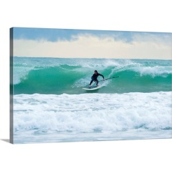 Large Solid-Faced Canvas Print Wall Art Print 30 x 20 entitled Surfing, Bunker Beach Tarifa Spain
