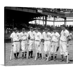 Large Solid-Faced Canvas Print Wall Art Print 30 x 24 entitled American League baseball greats in the line-up of the 5th A...
