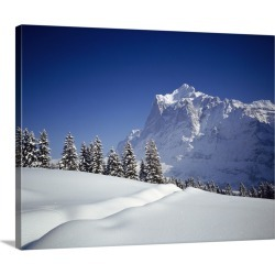 Large Gallery-Wrapped Canvas Wall Art Print 24 x 19 entitled Snow Grindelwald Switzerland
