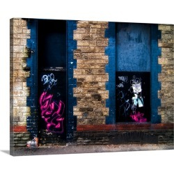 Large Gallery-Wrapped Canvas Wall Art Print 24 x 18 entitled Derelict door and window with graffiti found on Bargain Bro India from Great Big Canvas - Dynamic for $234.99