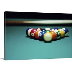 Large Gallery-Wrapped Canvas Wall Art Print 24 x 16 entitled Billiard Balls Arranged on Table found on Bargain Bro India from Great Big Canvas - Dynamic for $214.99