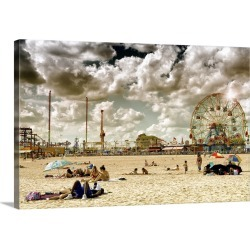 Large Solid-Faced Canvas Print Wall Art Print 30 x 20 entitled Beach at Coney Island
