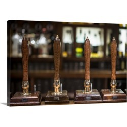 Large Gallery-Wrapped Canvas Wall Art Print 24 x 16 entitled Beer pumps in a pub in Scotland
