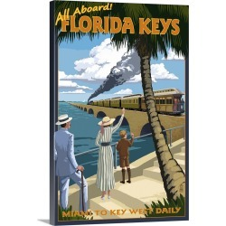 Large Gallery-Wrapped Canvas Wall Art Print 16 x 24 entitled Key West, Florida - Railroad: Retro Travel Poster