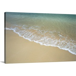 Large Solid-Faced Canvas Print Wall Art Print 30 x 20 entitled A view of surf creeping up onto a beach