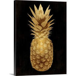 Large Solid-Faced Canvas Print Wall Art Print 30 x 40 entitled Gold Pineapple on Black II
