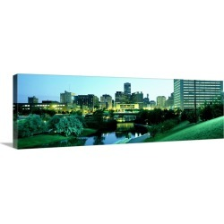 Large Solid-Faced Canvas Print Wall Art Print 48 x 16 entitled Omaha NE