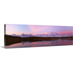 Large Gallery-Wrapped Canvas Wall Art Print 36 x 12 entitled Sunset, Mount McKinley in Denali National Park, Alaska