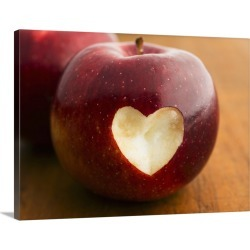 Large Solid-Faced Canvas Print Wall Art Print 40 x 30 entitled Close up of apple with missing bite in heart shape, studio ...