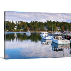 Large Solid-Faced Canvas Print Wall Art Print 30 x 20 entitled Lobster fishing boats, Boothbay Harbor, Maine, New England,...