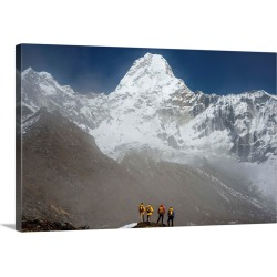 Large Gallery-Wrapped Canvas Wall Art Print 24 x 16 entitled A climbing team stand looking up at Ama Dablam in the Everest... found on Bargain Bro India from Great Big Canvas - Dynamic for $224.99