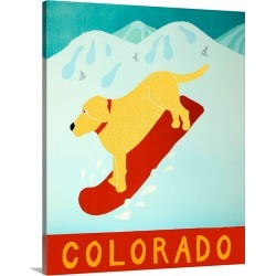 Large Solid-Faced Canvas Print Wall Art Print 24 x 30 entitled Colorado Snowboard Yellow