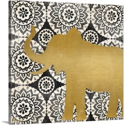 Large Solid-Faced Canvas Print Wall Art Print 20 x 20 entitled Boho Elephant II - Black