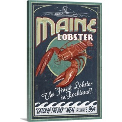 Large Gallery-Wrapped Canvas Wall Art Print 16 x 24 entitled Lobster Vintage Sign - Rockland, Maine: Retro Travel Poster
