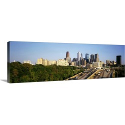Large Solid-Faced Canvas Print Wall Art Print 48 x 16 entitled Route 76 Skyline Philadelphia PA