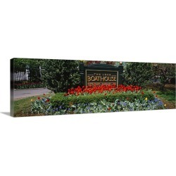 Large Gallery-Wrapped Canvas Wall Art Print 36 x 12 entitled Sign board in a park, Central Park, Manhattan, New York City,...