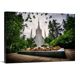 Large Solid-Faced Canvas Print Wall Art Print 30 x 20 entitled Portland Oregon Temple, Garden in Front, Lake Oswego, Oregon