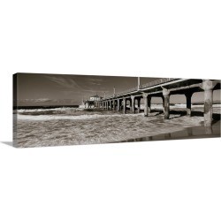 Large Solid-Faced Canvas Print Wall Art Print 48 x 16 entitled Pier, Manhattan Beach Pier, Manhattan Beach, Los Angeles Co... found on Bargain Bro India from Great Big Canvas - Dynamic for $209.99