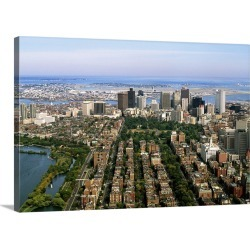 Large Gallery-Wrapped Canvas Wall Art Print 24 x 16 entitled Massachusetts, Boston, Air view of Back Bay Area and Downtown found on Bargain Bro India from Great Big Canvas - Dynamic for $214.99