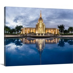 Large Gallery-Wrapped Canvas Wall Art Print 24 x 19 entitled Fort Lauderdale Florida Temple, Blue Reflections, Davie, Florida
