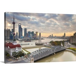 Large Solid-Faced Canvas Print Wall Art Print 30 x 20 entitled New Pudong skyline, Waibaidu Bridge, Shanghai; China