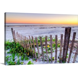 Large Solid-Faced Canvas Print Wall Art Print 30 x 20 entitled A beach fence at sunset on Hilton Head Island, South Carolina.