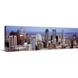 Large Gallery-Wrapped Canvas Wall Art Print 36 x 12 entitled Aerial view of buildings in a city, Montreal, Quebec, Canada