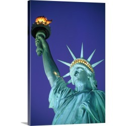 Large Gallery-Wrapped Canvas Wall Art Print 20 x 30 entitled Statue Of Liberty In New York City At Dusk