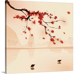 Large Solid-Faced Canvas Print Wall Art Print 20 x 20 entitled Plum Blossoms in Spring