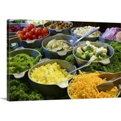 Large Solid-Faced Canvas Print Wall Art Print 30 x 20 entitled Salad bar