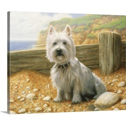 Large Gallery-Wrapped Canvas Wall Art Print 20 x 16 entitled West Highland Terrier At The Beach