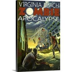 Large Gallery-Wrapped Canvas Wall Art Print 16 x 24 entitled Virginia Beach, Virginia - Zombie Apocalypse: Retro Travel Po...