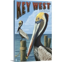 Large Gallery-Wrapped Canvas Wall Art Print 16 x 24 entitled Key West, Florida - Brown Pelican: Retro Travel Poster