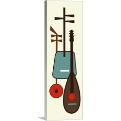 Large Solid-Faced Canvas Print Wall Art Print 16 x 48 entitled Musical Instruments 1