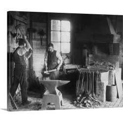 Large Gallery-Wrapped Canvas Wall Art Print 20 x 16 entitled Blacksmith Using Iron Forge