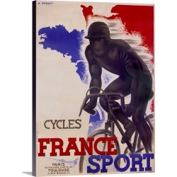 Large Solid-Faced Canvas Print Wall Art Print 30 x 40 entitled Cycles, France Sport, by A. Bernat, Vintage Poster