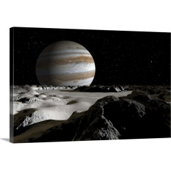 Large Gallery-Wrapped Canvas Wall Art Print 24 x 15 entitled Jupiters large moon, Europa, is covered by a thick crust of ice
