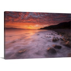 Large Solid-Faced Canvas Print Wall Art Print 30 x 20 entitled Dramatic sunrise over the Sea of Cortez near La Paz