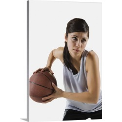 Large Gallery-Wrapped Canvas Wall Art Print 16 x 24 entitled Female basketball player found on Bargain Bro India from Great Big Canvas - Dynamic for $214.99