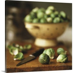 Large Solid-Faced Canvas Print Wall Art Print 20 x 20 entitled Brussels sprouts on chopping board and in colander