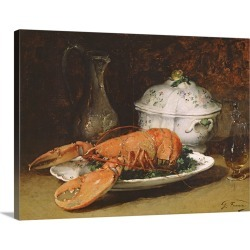 Large Gallery-Wrapped Canvas Wall Art Print 24 x 17 entitled Still Life with a Lobster and a Soup Tureen found on Bargain Bro India from Great Big Canvas - Dynamic for $229.99
